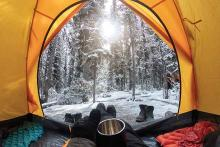 PROMO Outdoors - Camping Tent Gear Forest Trees Snow - iStock - Mumemories