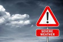 PROMO 64J1 Weather - Severe Thunderstorm Sign - iStock - gguy44